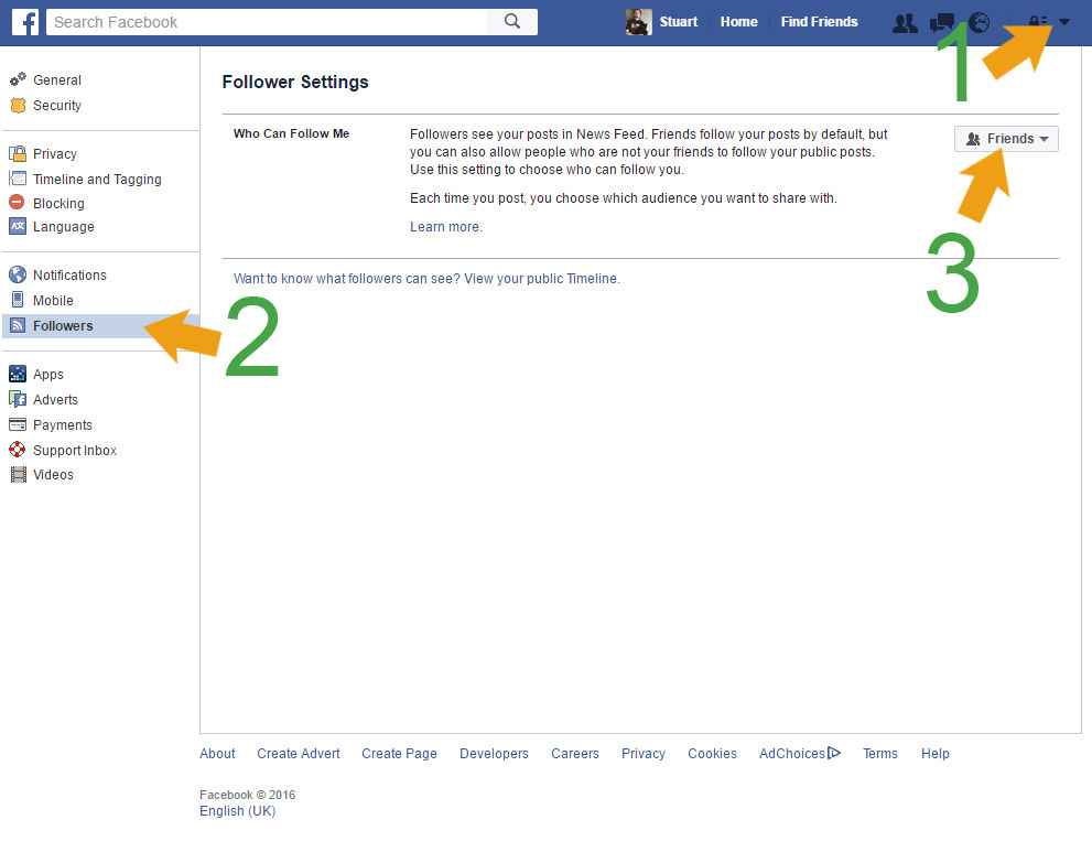 Facebook Turn on Followers